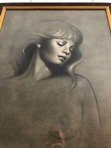 Vintage Barba Tate Framed Print Golden Girl Tretchikoff Era 82 x 66cm