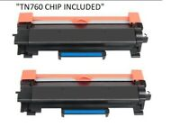 Compatible TN760 TN730 Black Toner Cartridge (2 Pack) (With Chip)