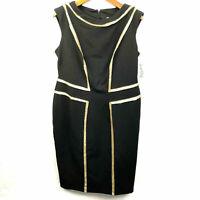 Joseph Ribkoff Womens size 12 Black Sleeveless Gold Sequined Sheath Dress NEW