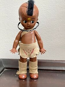 """Vintage Mohawk Indian Kewpie Style Hard Plastic Jointed Doll with Suede 6"""""""