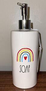 "Rae Dunn Rainbow ""SOAP"" Ceramic Soap Dispenser New"