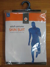 2nd skin spandex adult stretch BLUE FULL BODY SUIT hood jumpsuit unitard L large