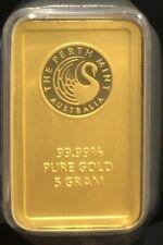 5 gram Gold Bullion Investment Bar Perth Mint Certified Australia 99.99% Fine
