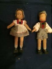"Pair of Miniature 5"" Vintage Wood Swiss Boy & Girl Dolls Cute Ethnic Outfits"