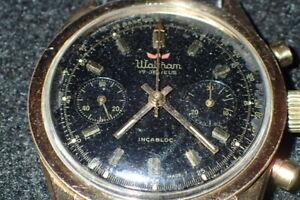 Vintage Waltham Chronograph 17 Jewels Incabloc Men's Wristwatch Swiss Made Works