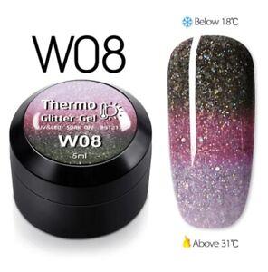1pcsTemperature Change Glitter Color Gel Polish Thermal Magic Effect Nail w08