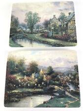 "Thomas Kinkade Lamplight Village Plates Set 2 Wall Hanging Art Numbered Lot 8"""