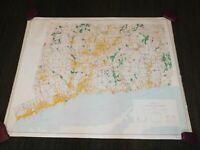 """VINTAGE LARGE 56"""" X 44"""" 1986 CONNECTICUT GEOLOGICAL SURVEY MAP"""