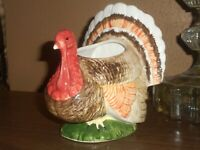 Brinns Vintage Ceramic Turkey Planter Thanksgiving Farmhouse Decoration 1960's