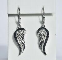 Echt 925 Sterling Silber Ohrringe Flügel Zirkonia schwarz Engel Nr 9D