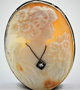 Victorian Carved Shell Cameo Pendant w/Diamond in 14K White Gold - ANTIQUE