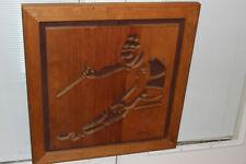 KEN DADDARIO Wood Skier Ski Signed 134/500 Olympic Art 1986
