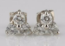 14k White Gold 0.90 carat Three Diamond Cluster Stud Earrings Gorgeous Gift