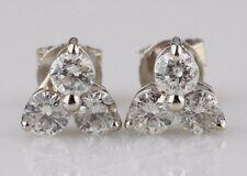 14k oro bianco 0.90 CARATO tre Diamanti Orecchini a lobo a grappolo SPLENDIDO