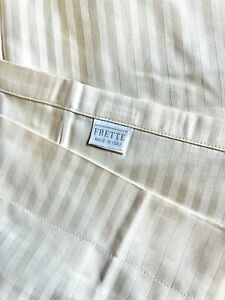 FRETTE King Striped Cream Sham Pillowcases, Made in Italy, 100% Cotton (Set of 2