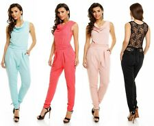 Jumpsuit Wasserfall Overall mit Spitze Onepiece Catsuit Clubwear Party 9155