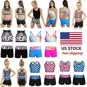 US Girls Kids 2-Piece Dance Sport Outfit Crop Top+Shorts Gymnastics Leotard Swim