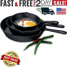 3 x CAST IRON SKILLET Pre Seasoned 6 8 10 Inch Stove Oven Fry Pans Cookware Set