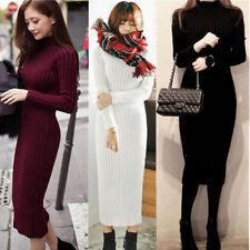 Women Winter Warm Knitted Jumper Sweater Dress Tops Pullover Long Sleeve Dress