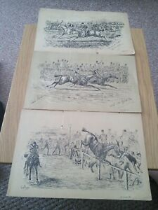 Vintage horseracing prints by Finch mason 3 in number