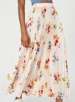 Jill Stuart Women's Skirt Light Pink Size 0 Floral Print Pleated Maxi $298 #226