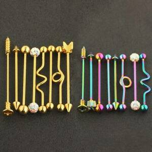 8 Pack Industrial Scaffold Barbell Ear Piercing Bar 316L Surgical Steel 38mm