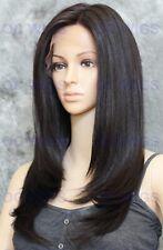Long Straight Heat OK Lace Front/Top Human Hair Blend Wig Darkest Brown EVEK 2