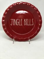 Rae Dunn Red JINGLE BELLS Pie Plate Baking Dish Christmas NEW