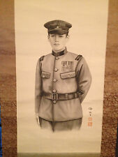 Vtg Possibly Antique Japanese Signed Scroll Painting of Military Official Man