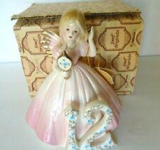 "Vintage Joseph Originals Pink 12 Year Birthday Angel Girl Figurine 6"""