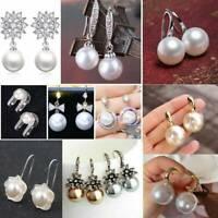 Fashion Women Elegant Flower Pearl Crystal Rhinestone Ear Stud Earrings Jewelry