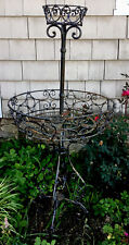French Antique C.1910s Large Metal Round 2 Tiered Plant Stand