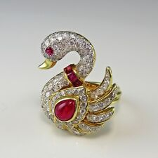 Swan Natural Ruby Diamond Estate Cocktail Ring Bird Jewelry Engagement Wedding
