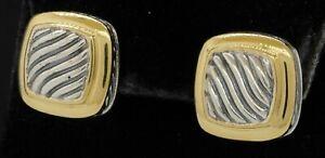 David Yurman 18K & 925 Sterling silver wavy square shaped earrings