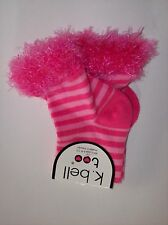 k bell too Socks Girls Size 6-8.5 One Pair Ankle Pink Ostrich Boa Striped Nip