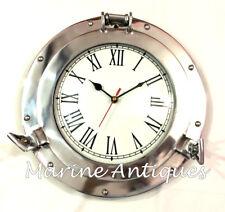 "10"" Nautical Antique Aluminum Porthole Wall Clock Vintage Home Decor Boat Clock"