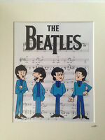 The Beatles - 1965 Cartoon - Line Up - Hand Drawn & Hand Painted Cel