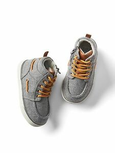 GAP Baby / Toddler Boys Size 9 Gray Flannel Hi-Top Boots Booties Sneakers Shoes