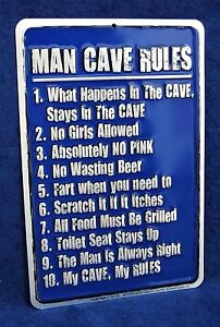 MAN CAVE RULES -*US MADE* Embossed Sign - Garage Shop Bar Rec Game Rm Wall Decor