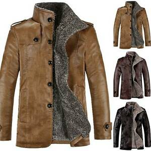 Mens Bomber Leather Jacket Fur Lined Thick Button Coat Warm Motorcycle Biker