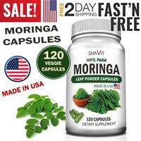 ORGANIC MORINGA Oleifera Powder Capsules Vitamin B1 B3 B C A IRON Zinc Superfood