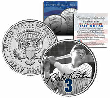 """Babe Ruth """"Holding Bat"""" JFK Kennedy Half Dollar US Coin *Officially Licensed*"""