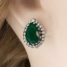 Deco 6.50ctw Emerald & Diamond Cut Sapphire 14K Yellow Gold 925 Silver Earrings