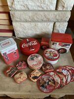 HUGE LOT Coca Cola Vintage Tin Advertising Pieces — 16 Pieces!