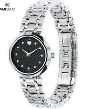 Movado Black Dial Stainless Steel Band Automatic Ladies Watch 0606919