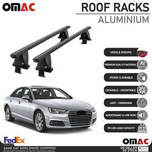 Fits Audi A4 Sedan 2017-2019 Smooth Top Roof Rack Cross Bar Carrier Rail Black
