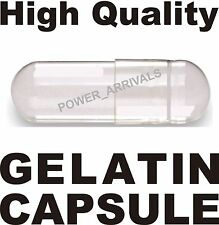 500 EMPTY GELATIN CAPSULES SIZE 00 (Kosher) GEL CAPS PILL COLOR - CLEAR