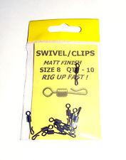 Swivel Clips Matt Black Finish pack of 10 size 8 - Carp Coarse