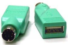 Lot10 USB A Female/F Jack~PS2 6pin Mini DIN Male/M Plug Mouse port Adapter{GREEN