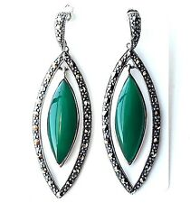 DARK JADE Dangling Drop EARRINGS + FREE PENDANT Marcasite .925 STERLING SILVER